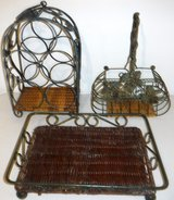 In/Outdoor Metal/Wicker Wine Rack - Caddy & Footed Serving Tray in Naperville, Illinois