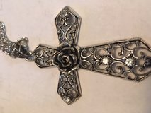 Cross Silver Filigree with Five Crystals and Rose in Center Large Special Clasp on Long Chain in Kingwood, Texas
