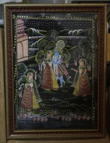 Indian paintings (2) on fabric, framed in Okinawa, Japan