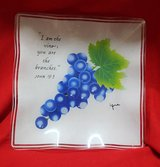 Glass square plate with grapes in Okinawa, Japan