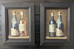 "2 wine bottle oil paintings, framed.  7""x9"" in Batavia, Illinois"