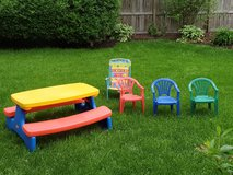 Little tikes Large Folding picnic table and additional chairs in Batavia, Illinois