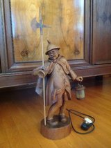 Vintage Lamp or Light - Carved Wood Night Watchman in Ramstein, Germany