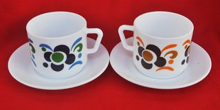 French vintage milk-glass cups (2) with saucers in Okinawa, Japan