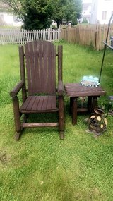 2pc rustic solid wood rocking chair and side table. No hold in Batavia, Illinois