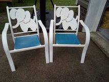White metal elephant children's chairs in Camp Lejeune, North Carolina