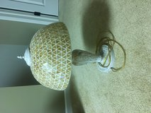 Metal Ornate Base Lamp with Glass Shade in Batavia, Illinois