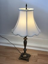 Antique Brass Table Lamp with Cream Shade and Solid Brass Finial in Stuttgart, GE