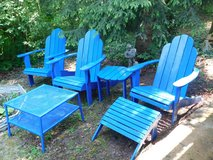 3 Adirondack chairs with separate footstool, side table and metal 2 tier outdoor table in Stuttgart, GE