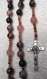 Catholic Rosary Rhodonite Pink Black Beads Czech Accents Italian Silver Medal and Crucifix Custo... in Kingwood, Texas