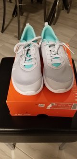 Brand New. Girl's Nike Tennis Shoes. Grey and Teal. Size 4Y in Fort Carson, Colorado