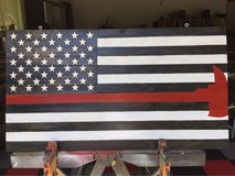 Commemorative Firefighters Wood Flag in Beaufort, South Carolina
