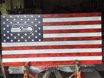 commemorative Seattle Seahawks wood flag in Beaufort, South Carolina