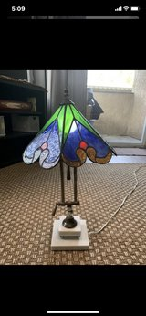 "21""H x 28""Around Shade Vintage Stained Glass Desk/Table Lamp With White Marble Stand in Camp Pendleton, California"