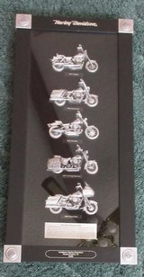 5 Pewter Harley Davidson Motorcycles from '90's in Shaow Box in Montgomery, Alabama