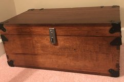 Meticulously Restored Wooden Footlocker/Trunk with Black Metal Accents and Hinges in Beaufort, South Carolina