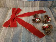 "Large 10"" Red Velvet like Bow & 3 Pine cone Decorative Picks.  Ideal to add to Wreaths in Warner Robins, Georgia"