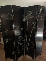 Black Lacquer Chinese Room Divider Screen in Kingwood, Texas