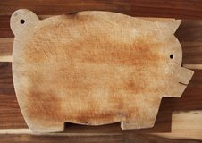 Italian pig-shaped wooden cutting table in Okinawa, Japan