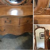 Antique 1900's Birds Eye maple chest of drawers and Beveled mirror in Naperville, Illinois