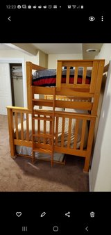 Solid Wood Frame Bunk Beds w/Trundle & 3 Mattresses in Alamogordo, New Mexico