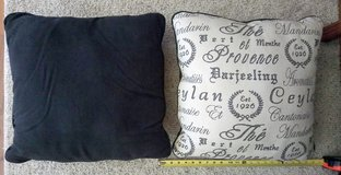 Brand new sofa cushions/pillows (set of 2) canvas (ivory)/charcoal, 20x20, wording--Ceylan, Mand... in Naperville, Illinois