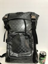 Gucci Metallic Gray GG Print Large Backpack. Great for traveling hands-free new in Okinawa, Japan