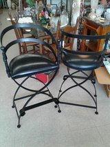 Pair Black Wrought Iron Bar Stools #444-394 in Camp Lejeune, North Carolina