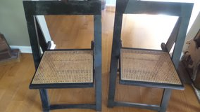 VERY NICE TWO BLACK AND WICKER SEAT FOLDING CHAIRS in Yorkville, Illinois