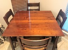 Antique 1881 Saloon Pub Table & Four Antique Carved Chairs in Kingwood, Texas