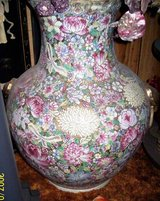 Large Hand painted 2 ft tall Round Oriental Vase in Alamogordo, New Mexico