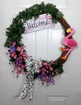 Tropical Grapevine Wreath with Pink Flamingo, Orchids and Welcome Sign in Camp Lejeune, North Carolina