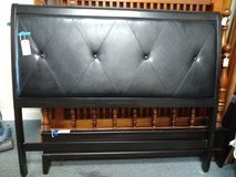 Queen Size Black Faux Leather Headboard, Footboard, Rails in Naperville, Illinois