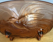 Vintage Pink Tiara Empress Bird of Paradise Glass Oval Footed Centerpiece Console Bowl in 29 Palms, California