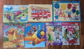 Children's wood, cardboard and grip puzzles--set of 7: transportation, animals, Pooh, princesses... in Plainfield, Illinois