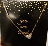 "NWT Heart Arrow Gold Tone Greeting Card ""You are Loved"" Chain Diamonds Necklace in Houston, Texas"