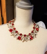 NWT Gold Tone Red Ruby Diamond Large Gem Stone Pageant Prom Formal Necklace in Kingwood, Texas