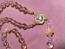 Catholic Rosary Pink Gold Little Flower Middle Medal Gold Crucifix Gold Silver Glass Glass Beads... in Kingwood, Texas