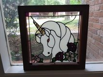 Unicorn, Framed Stained Glass Panel, Vintage 1980's in Kingwood, Texas