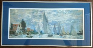 Sailboat print, Impressionist style, Matted in a Silver Frame in Kingwood, Texas