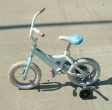 "12"" tire bike / huffy / boy or girl / blue white in Warner Robins, Georgia"