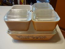 VINTAGE PYREX OLD ORCHARD 9 PC REFRIGERATOR SET in Naperville, Illinois
