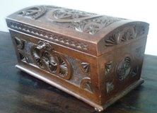 Large antique German table trunk box - detailed wood carvings in Spangdahlem, Germany