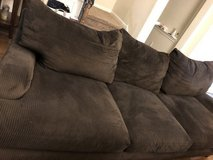 Chocolate brown sofa and coffee table in Conroe, Texas