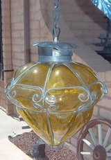 Big Wrought iron and glass lamp  made in Mexico. in Alamogordo, New Mexico