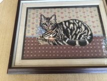 Framed Needlework Cat in Wheaton, Illinois