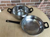 Stainless skillet and small stock pot in Naperville, Illinois