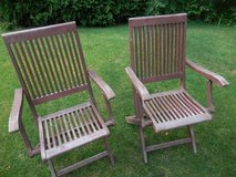 Redwood folding chairs in St. Charles, Illinois