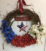 Patriotic Grapevine Wreath-handmade in Fort Riley, Kansas