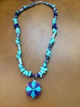 LAPIS/TURQUOISE NECKLACE w/AFRICAN FLORAL BEZELED PENDANT in Sandwich, Illinois